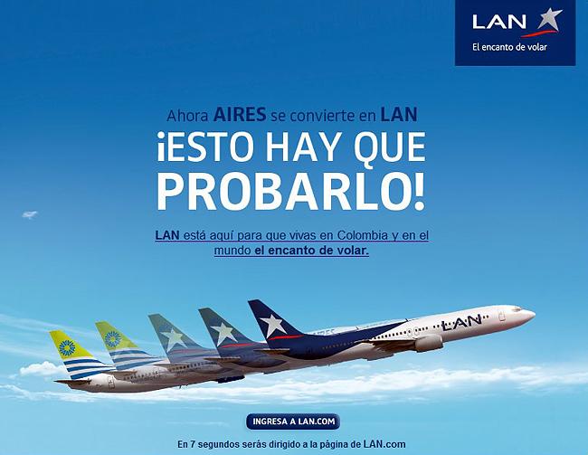 Publicidad sobre el cambio de Aires en LAN.