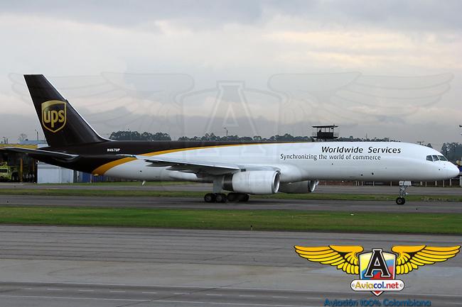 Boeing 757 carguero de UPS en el Aeropuerto Eldorado de Bogotá