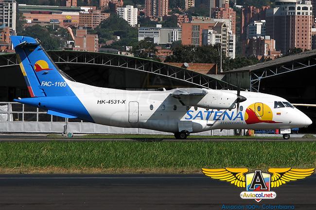 Fairchild-Dornier 328 de Satena en el Aeropuerto Olaya Herrera de Medellín