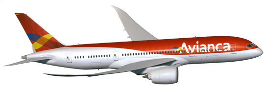 Render 787 de Avianca en los antiguos colores de la aerolínea.