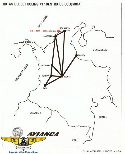 Mapa de rutas de 737 de Avianca - Aviacol.net El Portal de la Aviación Colombiana