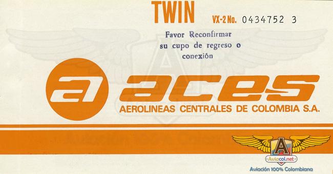Tiquete ACES - - Aviacol.net El Portal de la Aviación Colombiana