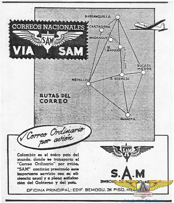 Publicidad SAM Septiembre, 1949 - Aviacol.net El Portal de la Aviación Colombiana