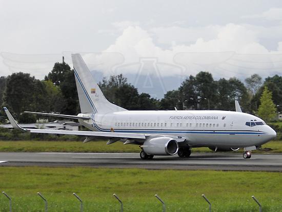 Boeing 737 BBJ1 de la Fuerza Aérea Colombiana en Popayán