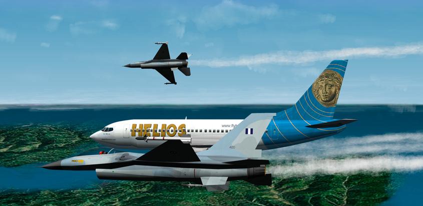 Recreación del vuelo Helios 522 en el aire.
