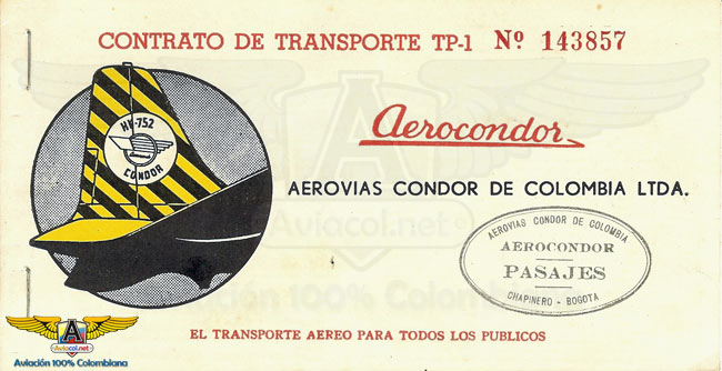 Tiquete de Aerocóndor