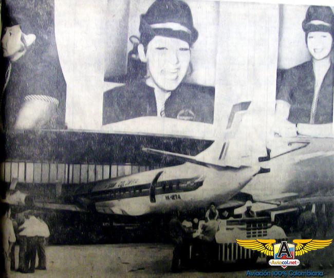Magola González, María Eugenia Gallo y Edilma Pérez, las tres azafatas de la tripulación de relevo