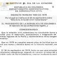 INSTITUCIÓN DEL DÍA DE LA AVIACIÓN CIVIL COLOMBIANA Y DE LA ORDEN DE LA CRUZ DEL MÉRITO AERONÁUTICO CIVIL