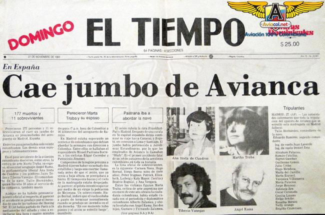 Portada de El Tiempo sobre el accidente del Jumbo de Avianca - Aviacol.net El Portal de la Aviación Colombiana