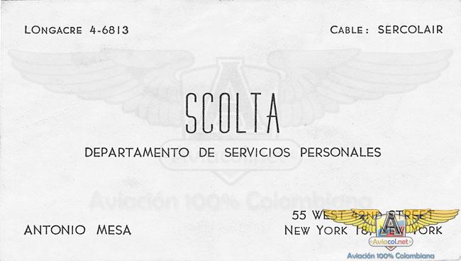 Tarjeta SCOLTA - Aviacol.net El Portal de la Aviación Colombiana