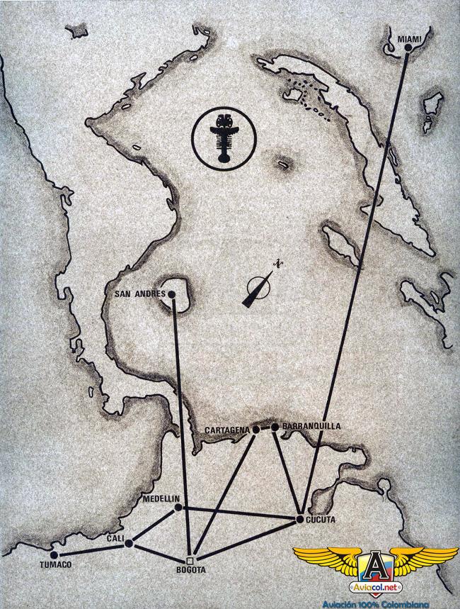 Mapa de rutas proyectado de Aerolíneas Eldorado