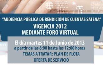 Satena invita a Audiencia Pública de Rendición de Cuentas vigencia 2012 | Aviacol.net El Portal de la Aviación Colombiana