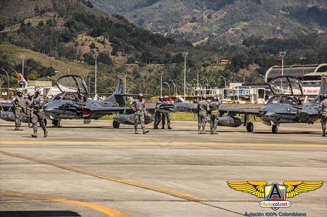 Aviones A-37 de la FAC en Ángel de los Andes 2015