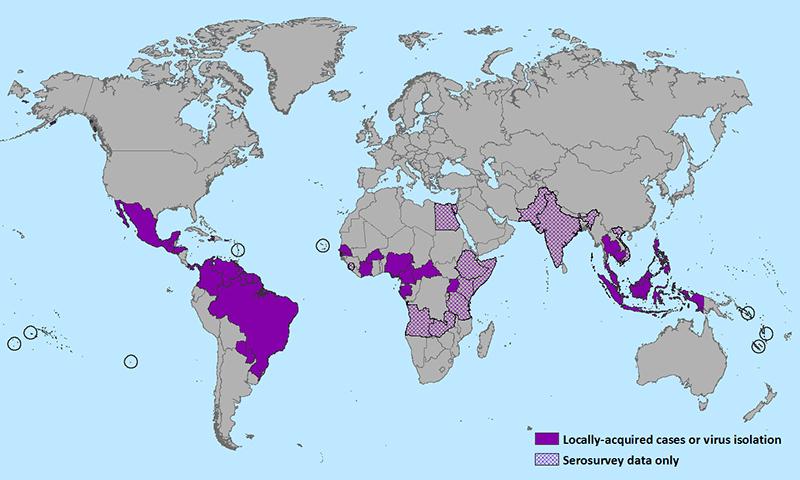Mapa de distribución del Virus Zika a Enero de 2016