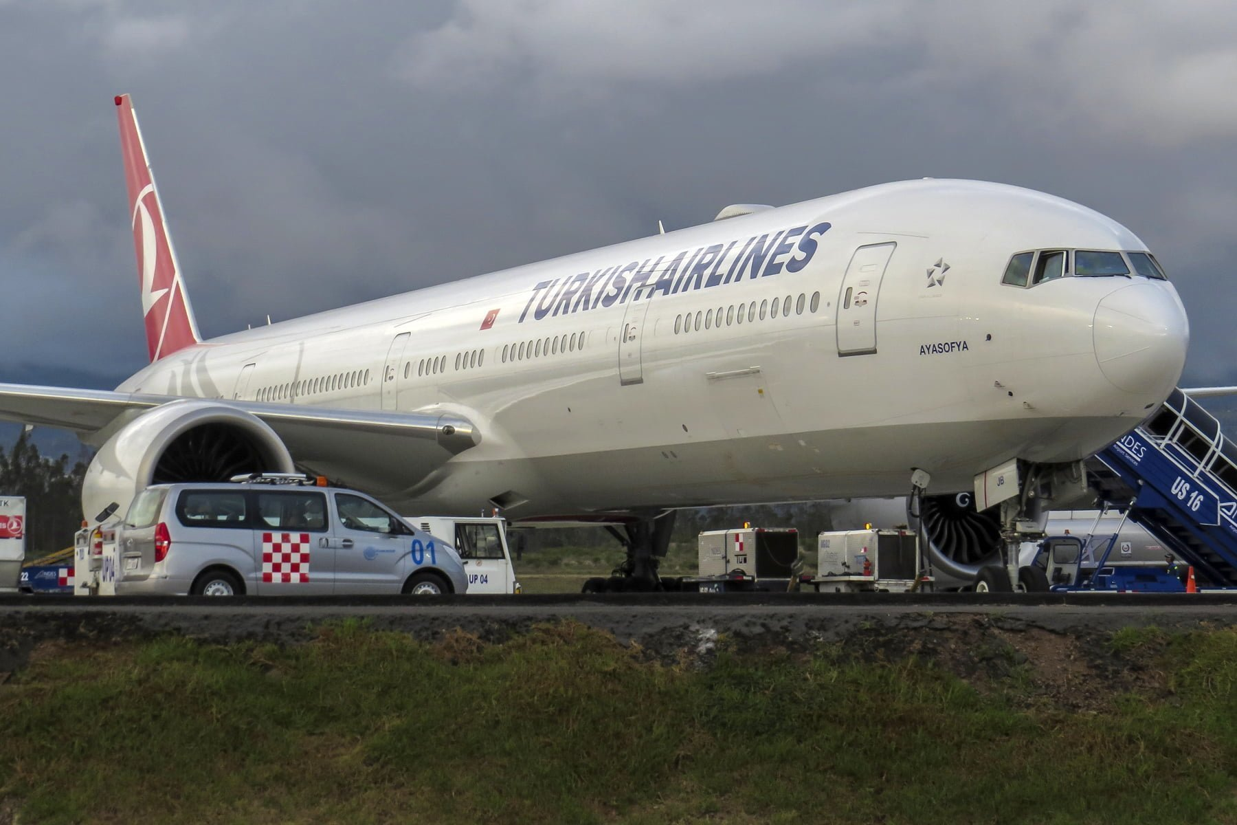 Boeing 777-300 de Turkish Airlines en el Aeropuerto de Quito