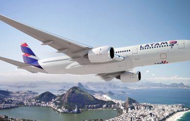 Render Airbus A350XWB de LATAM Airlines sobre Río de Janeiro
