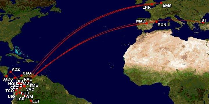 Mapa de rutas aéreas en Colombia