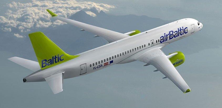 Bombardier CS300 en colores de AirBaltic (Imagen: Bombardier)