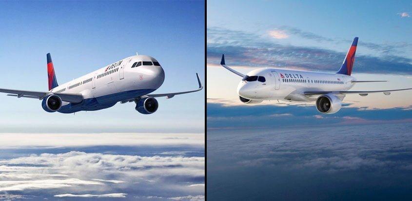 Airbus A321 y Bombardier CSeries en colores de Delta