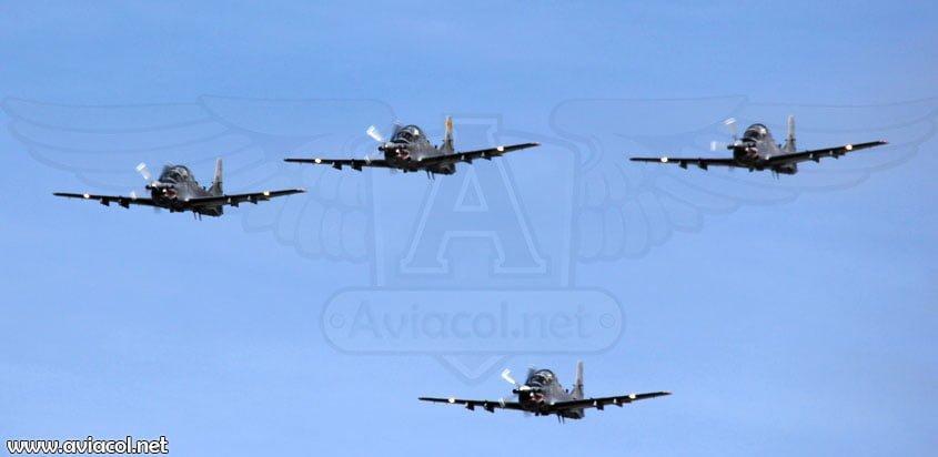 Aviones A-29B Super Tucano de la FAC
