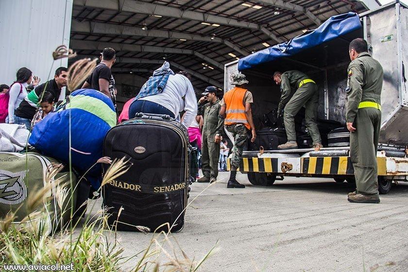 Maletas de repatriados colombianos