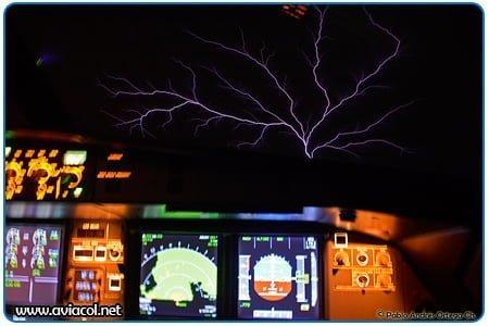 Estática en Windshield de Airbus A320 volando en mal tiempo