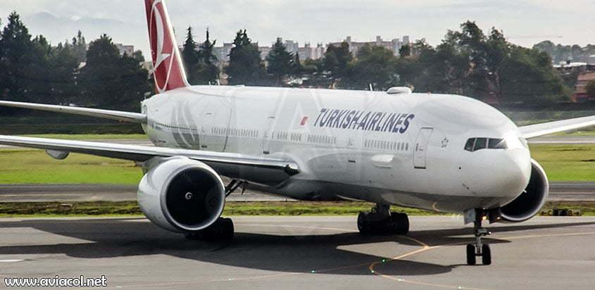 Boeing 777 de Turkish Airlines en Bogotá