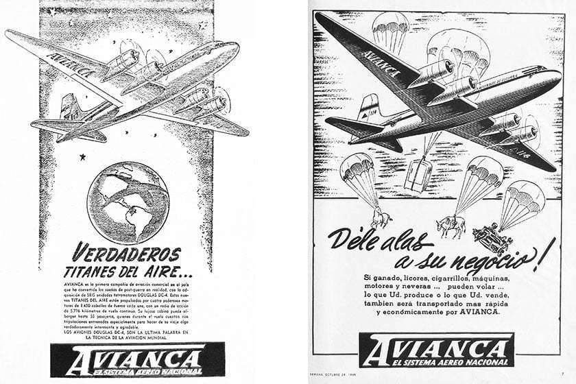 Publicidad de Avianca en 1946