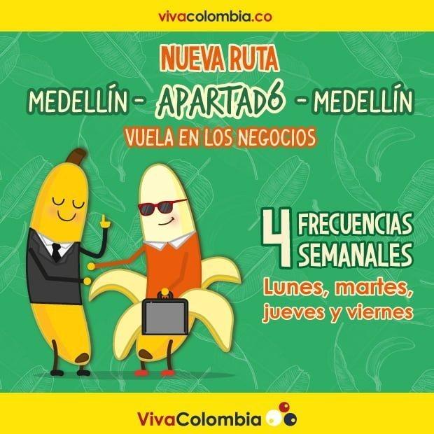 Publicidad vuelo VivaColombia Medellín-Apartadó