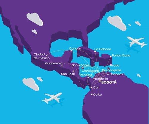 Mapa de rutas de Wingo: nueva aerolínea de bajo costo de Colombia.