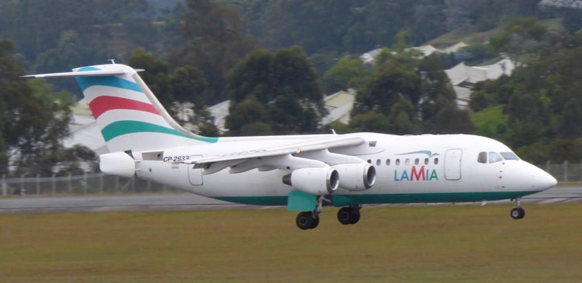Avro RJ85 de Lamia aterrizando en Rionegro.