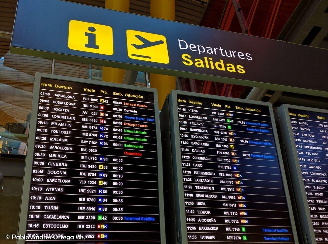 Pantalla de Salidas desde Aeropuerto de Barajas