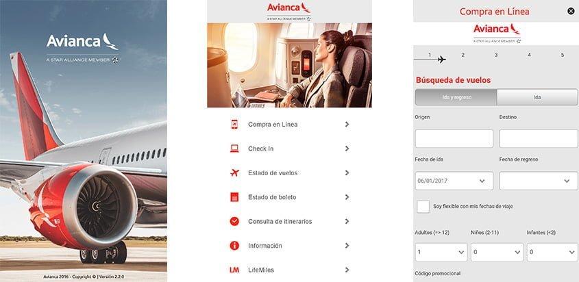 Vista de la App móvil de Avianca.