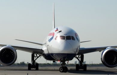 Boeing 787-9 de British Airways en vuelo inaugural a Santiago de Chile.