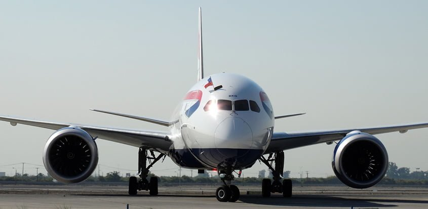 Boeing 787-9 de British Airways en vuelo inaugural a Santiago de Chile.