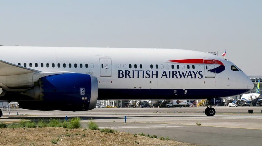 Boeing 787-9 de British Airways en rodaje en Santiago de Chile.