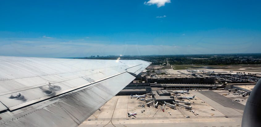 Vista Aérea del Aeropuerto Internacional de Fort Lauderdale-Hollywood.