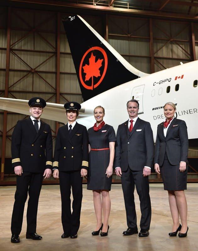 Uniformes de la Tripulación de Air Canada.