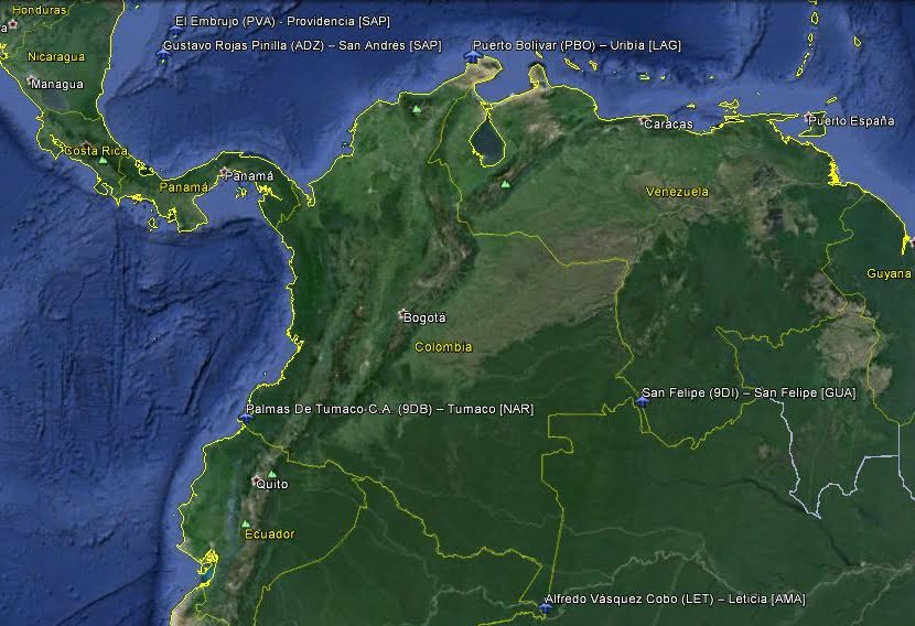 Aeródromos ubicados en los extremos cardinales de Colombia.