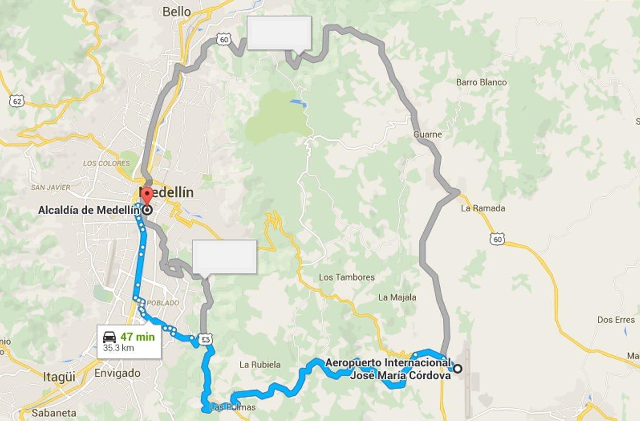 Distancia de Medellín al Aeropuerto José María Córdova.