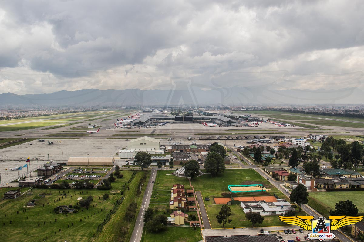 Vista Aérea del Aeropuerto Internacional Eldorado de Bogotá.