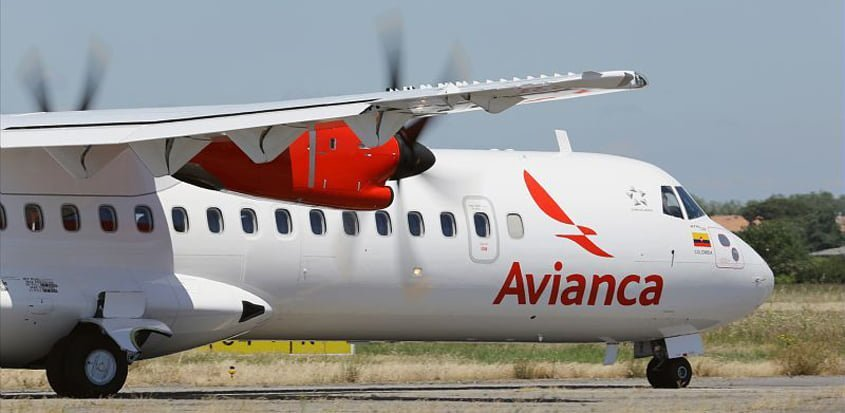 ATR 72 de Avianca en rodaje.