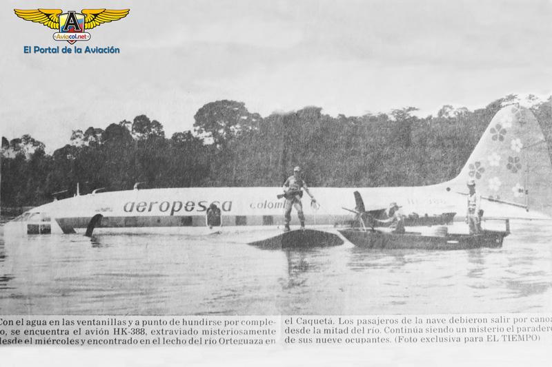 Curtiss C-46 de Aeropesca (HK-388) en el río. (Foto: Diario El Tiempo)