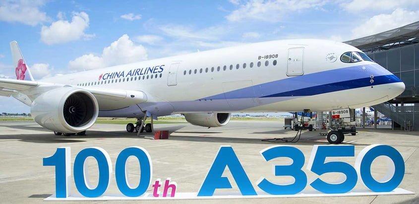 Entrega del A350XWB No. 100 a China Airlines en Toulouse, Francia.