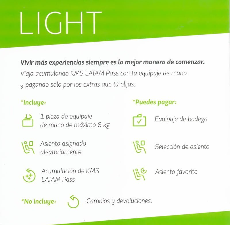 Tarifa Light LATAM Airlines