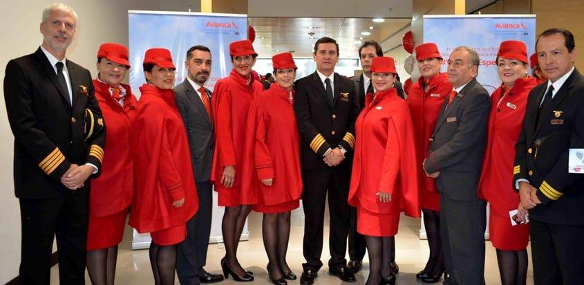 Tripulación de Avianca en los vuelos del Papa Francisco a Colombia.