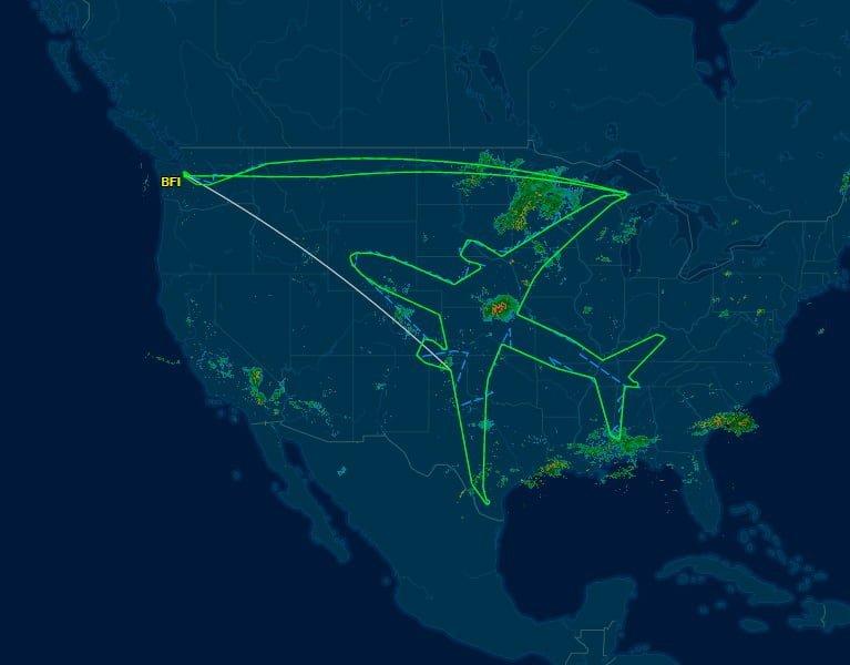 Boeing 787 dibujándose a sí mismo en el cielo de Estados Unidos.
