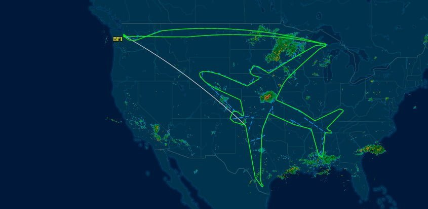 Silueta en el espació aéreo de Estados Unidos del Boeing 787.