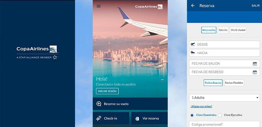 Vista de la nueva aplicación (App) de Copa Airlines.