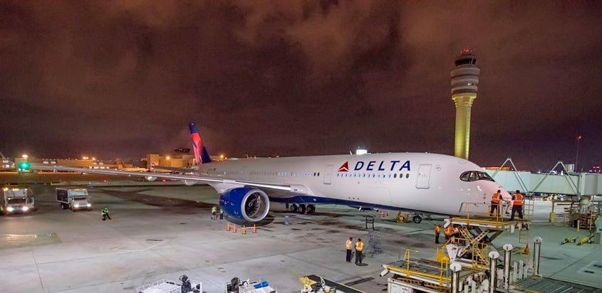 Airbus A350-900 de Delta Air Lines en su llegada a Atlanta.